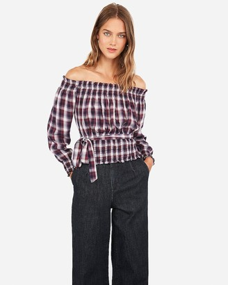 Express Off The Shoulder Plaid Smocked Top