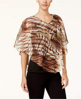 Alfred Dunner Jungle Love Layered-Look Poncho Necklace Top