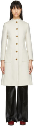 Gucci Off-White Wool Interlocking G Horsebit Coat