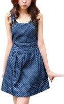 Allegra K Women Dots Pattern Denim Overall Dress XS