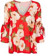 Girls On Film **Girls On Film Red Floral Print Tie Sleeve Blouse