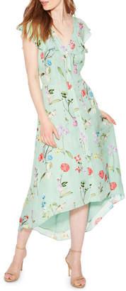Parker Raven Floral-Print V-Neck Cap-Sleeve High-Low Dress