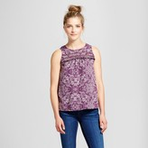 Merona Women's Printed Ruffle Trim Top