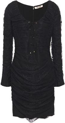 Roberto Cavalli Lace-up Ruched Lace Mini Dress