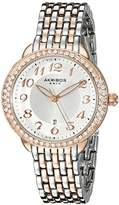Akribos XXIV Women's AK831TTR Round Silver Radiant Sunburst Center Dial Quartz Two Tone Bracelet Watch