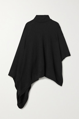 MICHAEL Michael Kors Asymmetric Knitted Turtleneck Poncho - Black