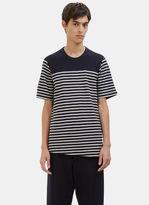 Marni Men's Contrast Layered Stripe Felt T-shirt In Burgundy And Grey