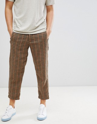 Selected wool pants in tapered cropped fit grid check