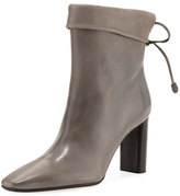 The Row Emil Leather Tie-Back Boot, Gray