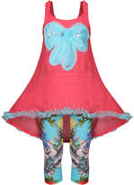 Mia Belle Baby Bow High-Low Tunic & Floral Capri Leggings Set - Orange, Size 2-3t