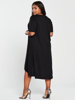 V By Very Curve Jersey Midi Dress - Black
