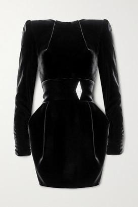 Alexandre Vauthier Crystal-embellished Velvet Mini Dress - Black
