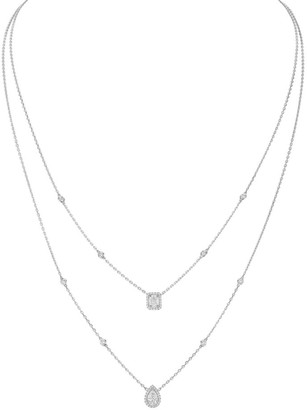 Messika My Twin Diamond & 18K White Gold Two-Row Necklace