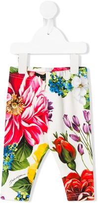 Dolce & Gabbana Floral-Print Slim-Fit Leggings