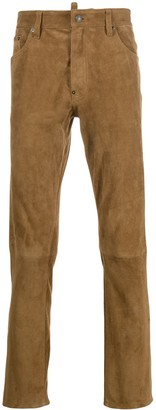 DSQUARED2 suede slim-fit trousers