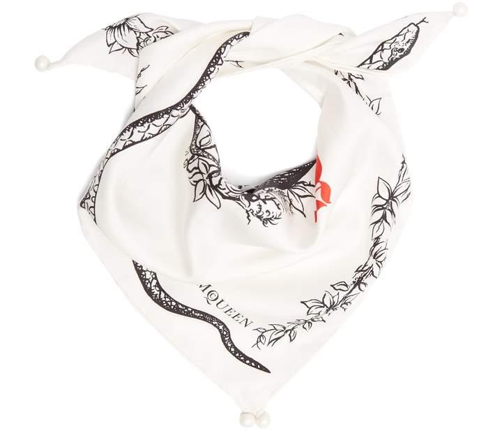 Alexander McQueen Skull and snake-print silk scarf