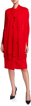 Lafayette 148 New York Italian Merino Wool/Silk Tie-Neck Cardigan w/ Combo Back