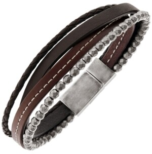 Sutton by Rhona Sutton Sutton Stainless Steel Brown Leather And Hematite Multi-Strand Bracelet