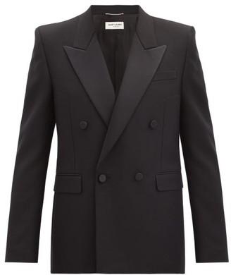 Saint Laurent Double-breasted Satin-lapel Wool Tuxedo Jacket - Black