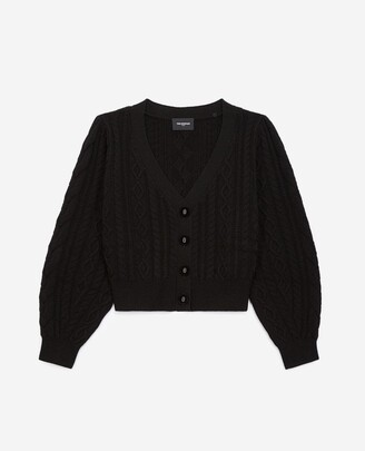 The Kooples Black cardigan in wool&cashmere w/leather