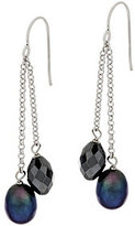 Honora As Is Cultured Pearl 7.0mm and Hematite Drop Earrings