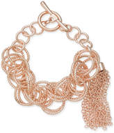 INC International Concepts I.N.C. Rose Gold-Tone Multi-Ring Tassel Toggle Bracelet, Created for Macy's