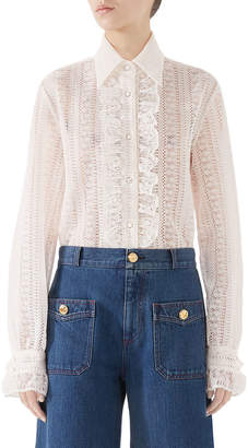 Gucci Striped Lace Long-Sleeve Shirt