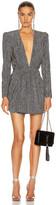 Saint Laurent Long Sleeve Mini Dress in Black & Silver | FWRD