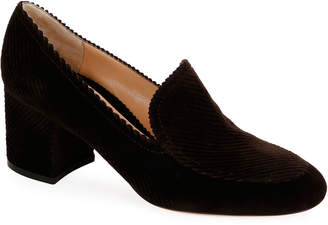 Gianvito Rossi Suede Pleated Loafer Pumps