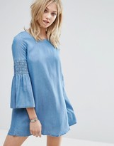 MANGO Denim Flute Sleeve Smock Dress