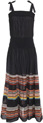 Tory Burch Smocked Printed Cotton-voile Maxi Dress