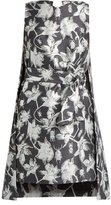 Osman Michelle floral and bug-brocade cape dress