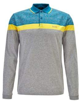 BOSS Colour-block polo shirt with printed seasonal pattern
