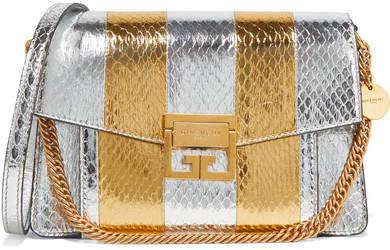 Givenchy Gv3 Small Metallic Watersnake Shoulder Bag - Silver