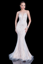 Terani Couture Entrancing Beaded Mermaid Dress with Illusion Neckline 1611GL0467