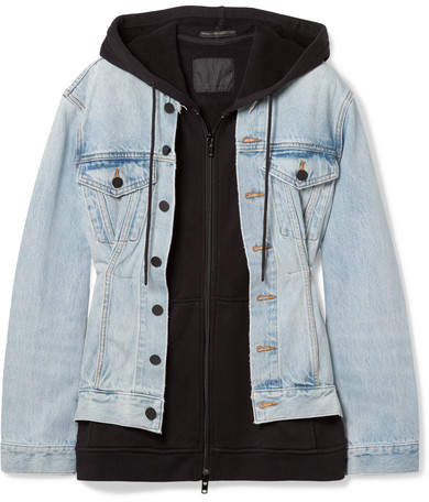 Alexander Wang Joint Mix Hooded Layered Cotton-jersey And Denim Jacket - Light denim