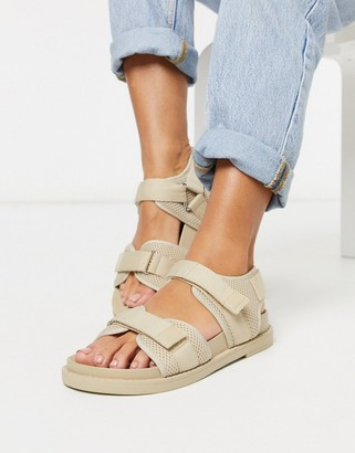 Monki Misha sporty sandals in beige