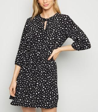 New Look Abstract Spot Print Tie Neck Mini Dress