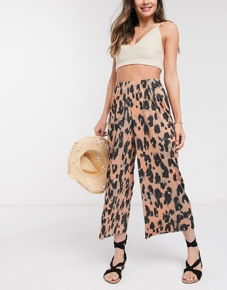 ASOS DESIGN plisse culotte in animal print