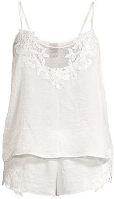 In Bloom Magnolia 2-Piece Shimmer Satin Camisole & Shorts Set
