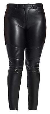Marina Rinaldi Ashley Graham x Women's Faux Leather Moto Pants
