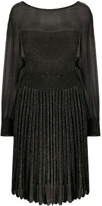 Alberta Ferretti Pleated Metallic Knit Dress