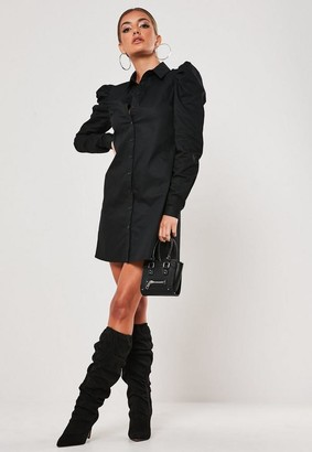 Missguided Petite Black Poplin Puff Sleeve Shirt Mini Dress