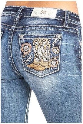 Miss Me Western Embroidered Bootcut Jeans in Dark Blue (Dark Blue) Women's Jeans