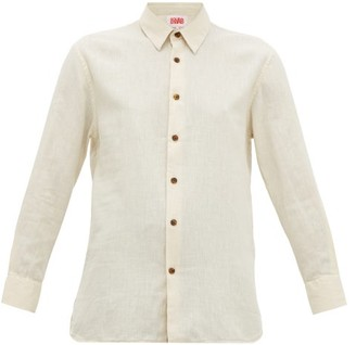 Solid & Striped Button-through Cotton-blend Shirt - Womens - Cream