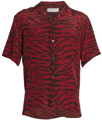 Saint Laurent Silk Zebra Print Shirt