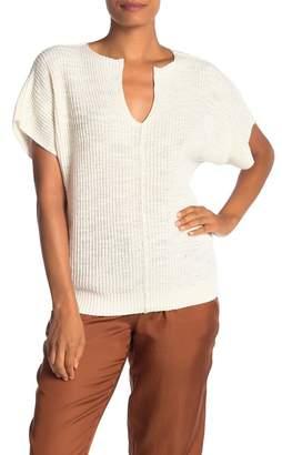 Lou & Grey Villa Split Neck Short Sleeve Sweater