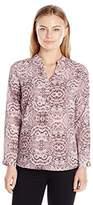 Notations Women's Plus Size Long Sleeve Printed Mandarin Collar Hi Low Blouse