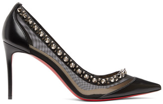 Christian Louboutin Black and Silver Galativi Spikes 85 Heels