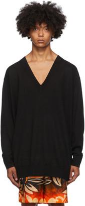 Dries Van Noten Black Long V-Neck Sweater